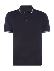 Michael Kors Men's Waffle Texture Tipped Polo Shirt Navy