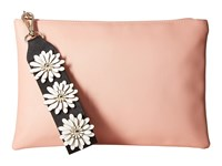 Jessica Mcclintock Gigi Flower Applique Pouch Clutch Blush Clutch Handbags Pink