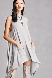 Forever 21 Heathered Hooded Tunic Heather Grey