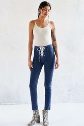 Bdg Twig Lace Up High Rise Skinny Jean Rinsed Denim