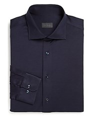 Pal Zileri Regular Fit Solid Dress Shirt Navy