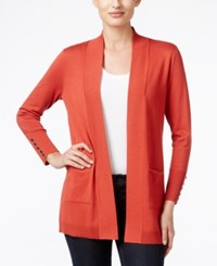 Jm Collection Petites Petite Open Front Cardigan Only At Macy's Rusty Red