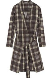 Etoile Isabel Marant Vanessa Checked Cotton Dress Dark Brown