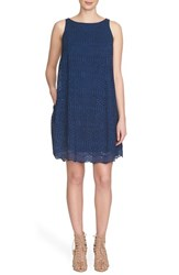1.State Women's Crochet Overlay Trapeze Dress Military Navy