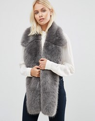 Urbancode Faux Fur Lepel Detail Scarf Grey