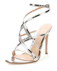 Gianvito Rossi Rhinestone Metallic Leather Evening Sandal Silver