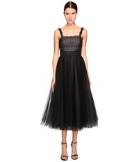 Marchesa Lace And Tulle Tea Length Gown With Beaded Straps Black Women's Dress