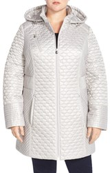Plus Size Women's Laundry By Shelli Segal Packable Hooded Metallic Quilted Coat Pewter