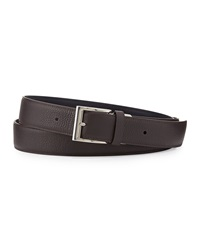 Dunhill Reversible Grained Leather Belt Brown Light Blue