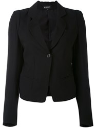 Ann Demeulemeester One Button Blazer Women Silk Cotton Rayon Virgin Wool 38 Black