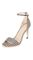 Zimmermann Printed Strap Sandals Black White Stripe