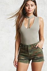 Forever 21 High Waist Camo Shorts Olive Multi