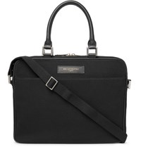 Want Les Essentiels Haneda Leather Trimmed Organic Cotton Canvas Briefcase Black