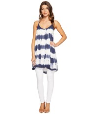 Culture Phit Karlie Spaghetti Strap Tunic Navy Ivory Women's Blouse Blue