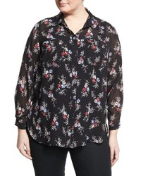 Vince Camuto Bouquet Ditsy Long Sleeve Blouse Black