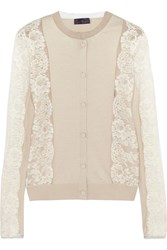 Lanvin Lace Paneled Silk And Cotton Blend Cardigan Nude