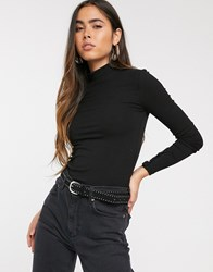 Stradivarius Ribbed Jersey Top With Embellished Sleeve Detail In Black Black