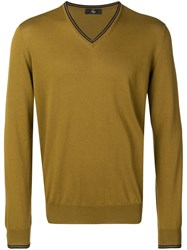 Fay Contrasting V Neck Sweater Green