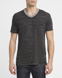 Eleven Paris Mottled Charcoal Batak Double Collar V Neck T Shirt Grey