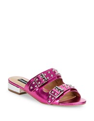 Design Lab Lord And Taylor Punk Studded Slip On Sandals Magenta