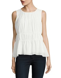 Ellen Tracy Neo Romanticism Solid Ruched Top White