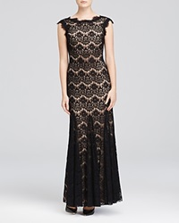 Betsy And Adam Aqua Sleeveless Lace Gown
