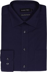 Double Two Men's King Size Long Sleeve Non Iron Poplin Shirt Navy