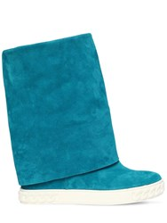 Casadei 80Mm Suede Wedge Sneakers Blue