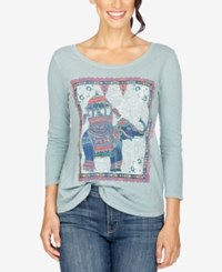 Lucky Brand Three Quarter Sleeve Elephant Graphic T Shirt Silver Blue