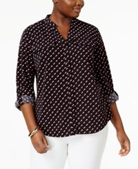 Ny Collection Plus Size Dot Print Utility Blouse Rose Atom