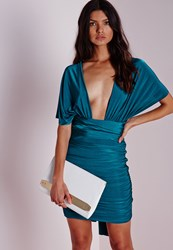 Missguided Do It Any Way Multiway Slinky Bodycon Dress Teal Blue