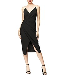 Betsey Johnson Faux Wrap Crepe Dress Black