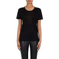 Saint Laurent Women's Washed Silk Jersey T Shirt Black Blue Black Blue