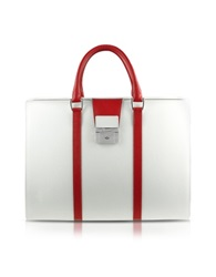 Pineider City Chic Women's Double Gusset Calfskin Briefcase White Red