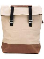 Qwstion Day Tote Backpack Unisex Cotton Leather One Size Nude Neutrals