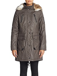 Laundry By Shelli Segal Faux Fur Trimmed Coated Parka Smoke Stone