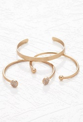 Forever 21 Rhinestone Cuff Set Antic Gold