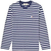 Maison Kitsune Long Sleeve Tricolour Fox Stripe Tee Blue