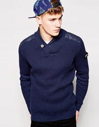 Firetrap Shawl Collar Rib Sweater Navy