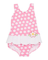 Florence Eiseman Petal Skirt Polka Dot One Piece Swimsuit Pink White