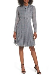 Maggy London Tie Neck Fit And Flare Dress Soft White Grey Pacific