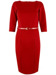 Closet Panel Belted Bodycon Dress Red