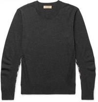Burberry Check Panelled Merino Wool Sweater Charcoal
