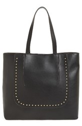 Sole Society Adelaine Studded Faux Leather Tote Black