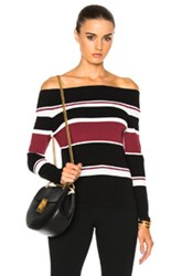 Veronica Beard Audrey Off The Shoulder Sweater In Black Stripes Red Black Stripes Red