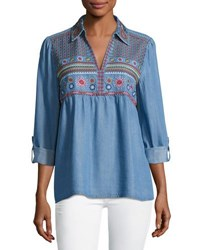 Philosophy Roll Tab Sleeve Embroidered Top Blue