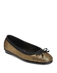 Aerosoles Fast Bet Bow Leather Flats Gold Snake Print