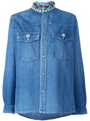 Forte Couture Embellished Collar Denim Shirt Blue