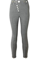 Alexander Wang Button Embellished Houndstooth Woven Skinny Pants Gray