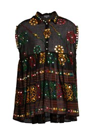 Juliet Dunn Embroidered Cotton Shirtdress Black Multi